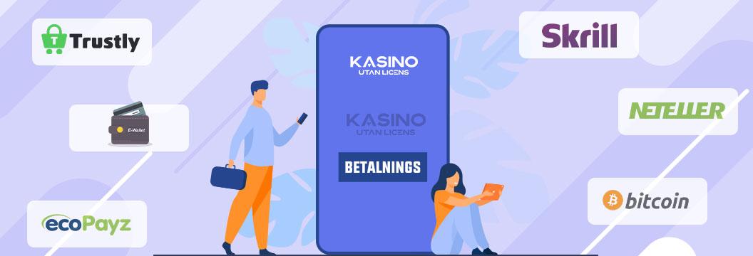 Betalningsmetoder spelsidor utan licens banner